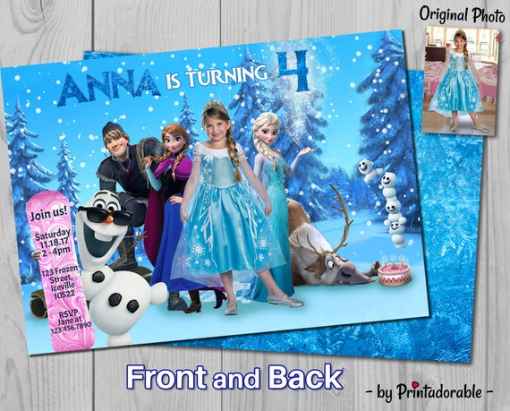 Frozen Invitation - Frozen Invite - Frozen Birthday - Elsa Invite - Olaf Invite - Frozen Birthday - Frozen - Front and Back
