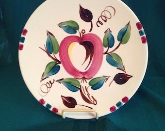 "Purinton Pottery 12"" Party Platter Apple Pattern Slipware  Charger Plate"