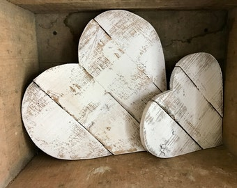 THE LOVE COLLECTION * Reclaimed White Washed Wood Pallet Heart Set