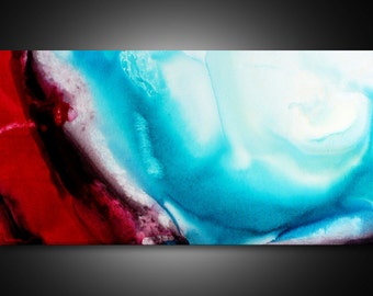 Large Abstract Wall Art - large canvas art, abstract canvas art, turquoise and red wall art, art, abstract painting,ART PRINTs on CANVAS