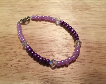 Purple beaded beacelet with Swarovski Crystal accent beads