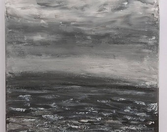 Acrylic painting abstract painting black and white painting art 30 cm x 30 cm acrylic paintings landscape sea ocean clouds