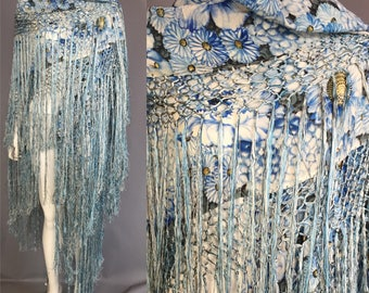 Exquisite hand painted 1920s 1930s silk shawl / piano shawl / blue silk shawl