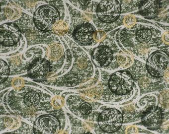 Green Gold Fabric 1 Yd Circles Swirls Metallic Cotton Kona Bay Remnant