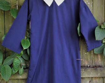 60s style navy shift mini dress with white collar