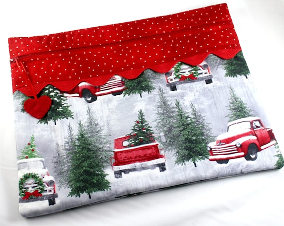 Snowy Red Truck Cross Stitch Embroidery Project Bag