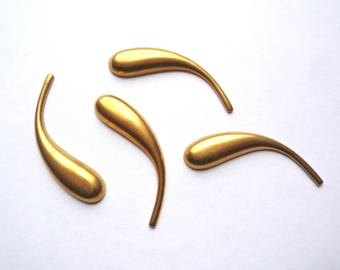 6 long thin bronze curved teardrops, 40 mm brass paisley blanks