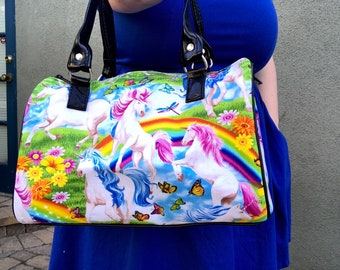 Handbag made with unicorns and rainbows fabric