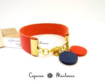 Orange-red - round leather - 15 mm wide Cuff Bracelet
