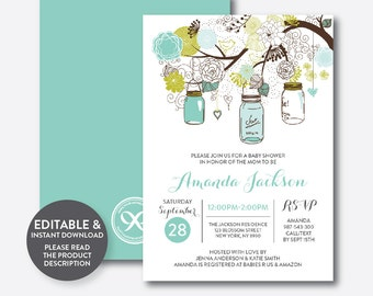 Instant Download, Editable Mason Jar Baby Shower Invitation, Mason Jar Invitation, Turquoise Mason Jar Invitation, Baby Sprinkle (SBS.88)