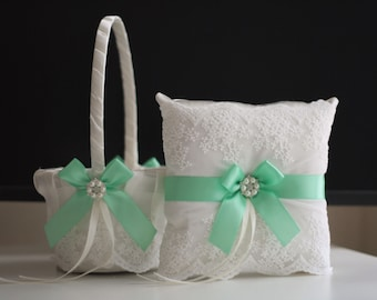 Mint Flower Girl Basket, Mint Ring Bearer Pillow, Wedding Ring Pillow, Mint Ring Holder, Mint Wedding Basket Pillow Set, Lace Ring Pillow