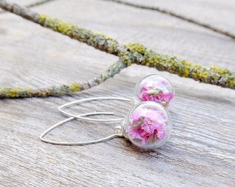 Real flower earrings, sterling silver, bridal earrings, botanical jewelry, wedding gift, delicate earrings, crystal earrings, inspirational