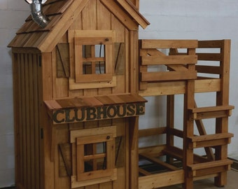 """Rustic Cabin Bunk Bed with cedar shake roofing, open and closing windows, wind up lanterns and """"Clubhouse"""" lettering!"""