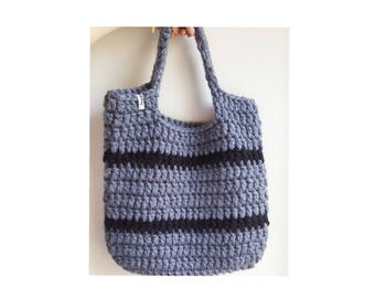 Grey crochet beach bag / gray shoulder bag / crochet tote bag / chunky market bag / craft bag / chunky tote bag / gray market bag