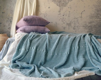 Super Heavy Duck Egg Blue Waffle Textured Stonewashed Linen Throw/ Bed cover/ Linen Blanket. Large size