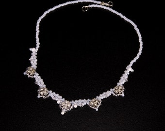 Bridal Necklace in White with Silver Set Flowers, Swarovski Crystals and Pearls. Delicate Beaded Wedding Necklace with Crystal Daisies S232