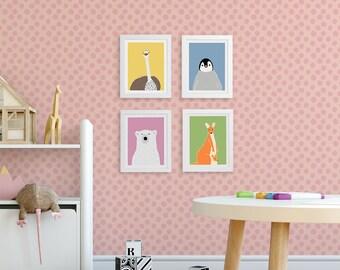 Nursery animal prints, kids animal art, zoo animal print, set of 4 prints, neutral gender baby, polar bear, ostrich, penguin, kangaroo