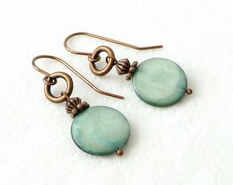 Copper Green Earrings, Sundance Style Artisan Southwestern Jewelry, Boho Jewelry, Seafoam Green Mother of Pearl Earrings, Gift  Idea for Her