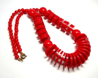Vintage 1960s Lipstick Red Disc and Bead Necklace
