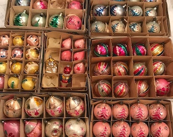 Vintage pink and blue and green and indent poland glass ornaments box sets glass glitter