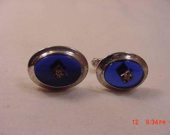 Vintage Blue Glass Rhinestone Accented Cuff Link Set  18 - 109