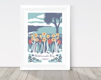 Nature print, Babbacombe Bay in Torquay, Devon illustration, spring flower print, tulips, daffodils and primroses, botanical print