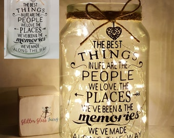 The Best Things In Life People Places Memories Quote ona light up jar / Gift / friend / friendship / for the home / fairy lights
