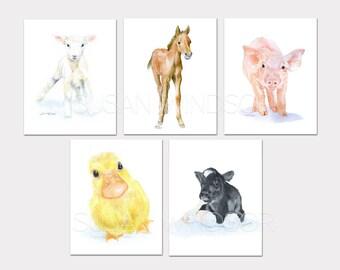 Watercolor Farm Animal Art Prints Nursery Childrens Room Set of 5 Horse Lamb Pig Duck Calf - PORTRAIT-Vertical Orientation