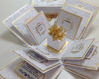 Exploding 50th GOLDEN Wedding Anniversary Box Card