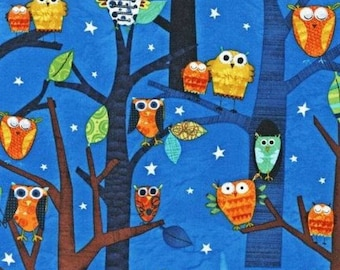 Cotton Fabric Quilting Robert Kaufman Owls SUPERIOR QUALITY