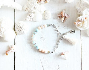 Varadero bracelet, silver chain, beads, sky blue, peach, cream, pompon, beach style, summer jewel, for women