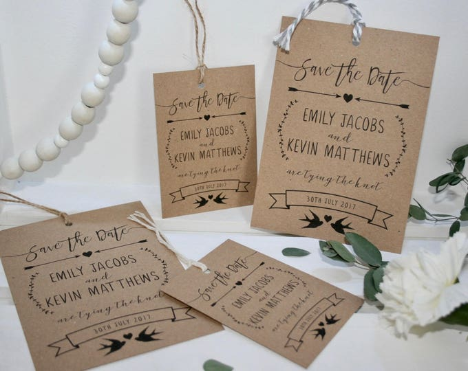 PRINTED Personalised Wedding Save The Date Luggage Tags - Rustic Recycled Kraft Card with Twine + Envelopes - Matching Invitations Available