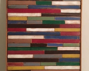 Reclaimed wood mosaic, multi- color wall decor