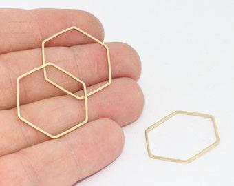 25mm Raw Brass Hexagon Pendant , Hexagon Charms , Raw Brass Hexagon, Geometric charms , CHK200