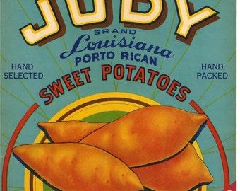 Judy Louisiana Porto Rican Sweet Potatoes Vintage Crate Label, 1930s