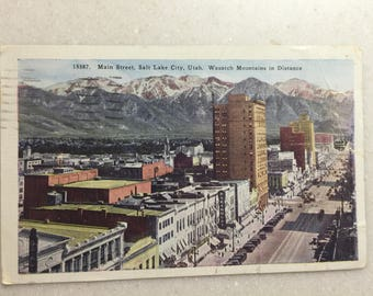 Vintage Postcard Salt Lake City Utah Wasatch Mountains & Main St 1945