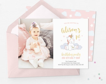 Unicorn photo invitations, photo invites printable Girl First birthday invitations photo Unicorn birthday invitation printable photo invite
