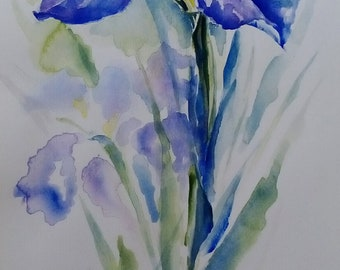 Original painting with watercolor by Iris-Original painting Watercolour Iris