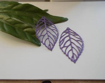 Purple x 2 enameled leaf prints
