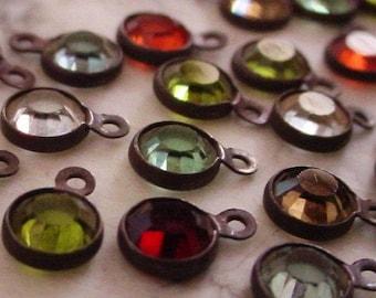 LOT Tiny 4mm Swarovski Crystal Channel Vintage Mini Drop Earring Charm 17ss Round 1 Ring Loop Hand Oxidized Dark Bronze Brown Black Brass 4K
