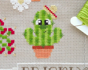 Miguel the Cactus Cross Stitch Pattern PDF | Mexican Cactus | Prickly but Cute Stitch-a-Long | Modern | Easy Beginners Counted Cross Stitch