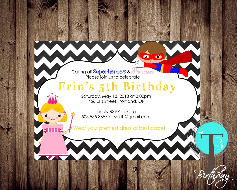 SUPERHERO and PRINCESS Birthday Invitation, birthday invite ...