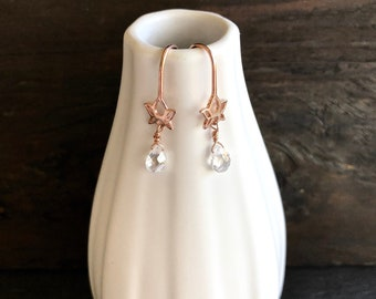 Rose gold lotus earrings with clear cz, Rose gold earrings with cz