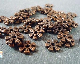 20 beads spacer copper flowers, 8 mm (pm97)