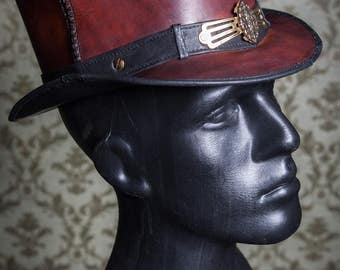 Ornate Leather TopHat redbrown,  Size 55,5-57cm, Single Piece