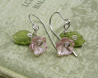 Little Pink Glass Flower Earrings, Sterling Silver Wire and Czech Glass Flower Jewelry, Flower Girl Gift for Girls, Stocking Stuffer, Women