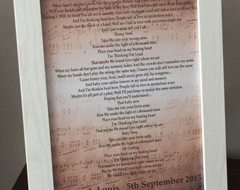 Personalised first dance song lyrics print - Wedding / Anniversary / Engagement - Any Song!
