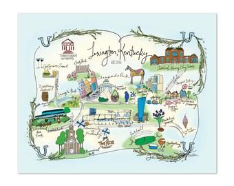Lexington, Kentucky Decorative Map Poster