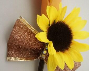 Calla Sunflower Boutonniere, Orange and Yellow Buttonhole Flower, Groom Groomsmen Lapel Wedding Gift, FFT original design, Made to order