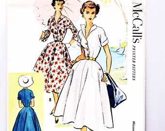 50s Full Skirt Rockabilly Shirtdress Pattern McCall's Vintage Sewing Pattern Size 16 Bust 34 inches UNCUT